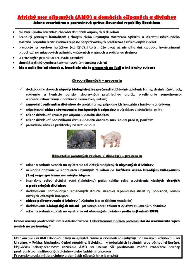 f39662ddd Aktuality - Africký mor ošípaných (AMO) u domácich ošípaných a ...